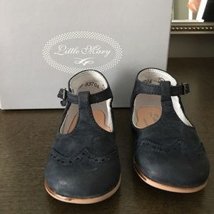 Baby girl navy blue suede Mary Janes